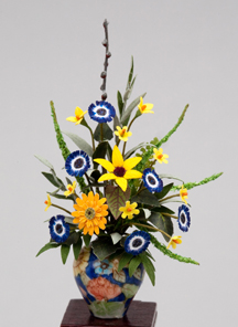 Yellow Blue Coral Floral
