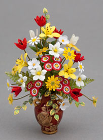 Red yellow white floral